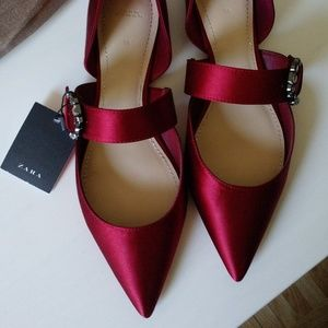 ZARA RED SATIN FLAT SHOES WITH EMBELLISHED BUCKLE
